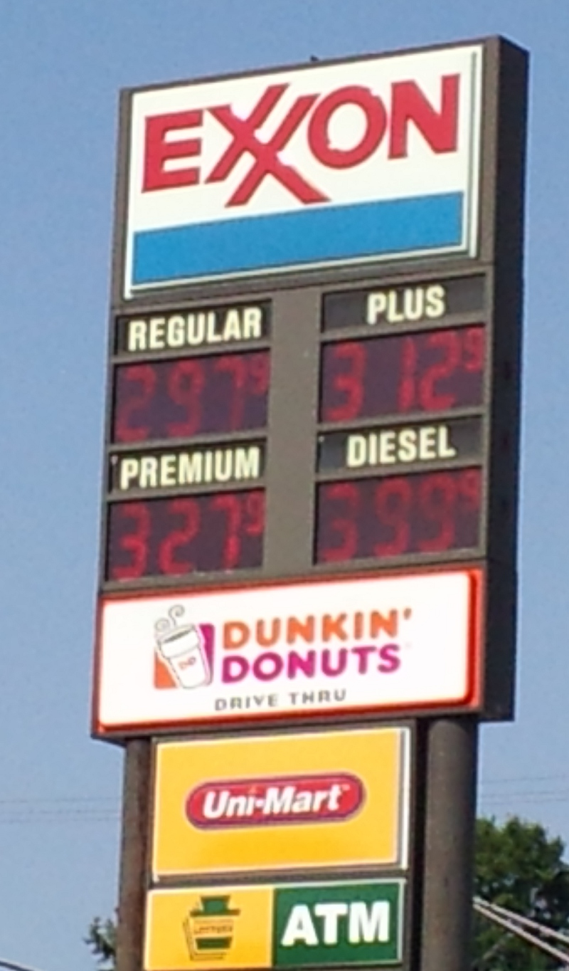 March 27, 2012 pricing of gasoline at the Ebensburg, PA Uni-Mart.